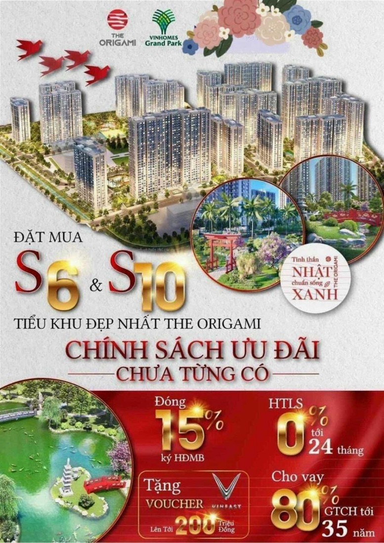 Đặt mua S6 & S10 tiểu khu căn hộ đẹp nhất The Origami Vinhomes quận 9