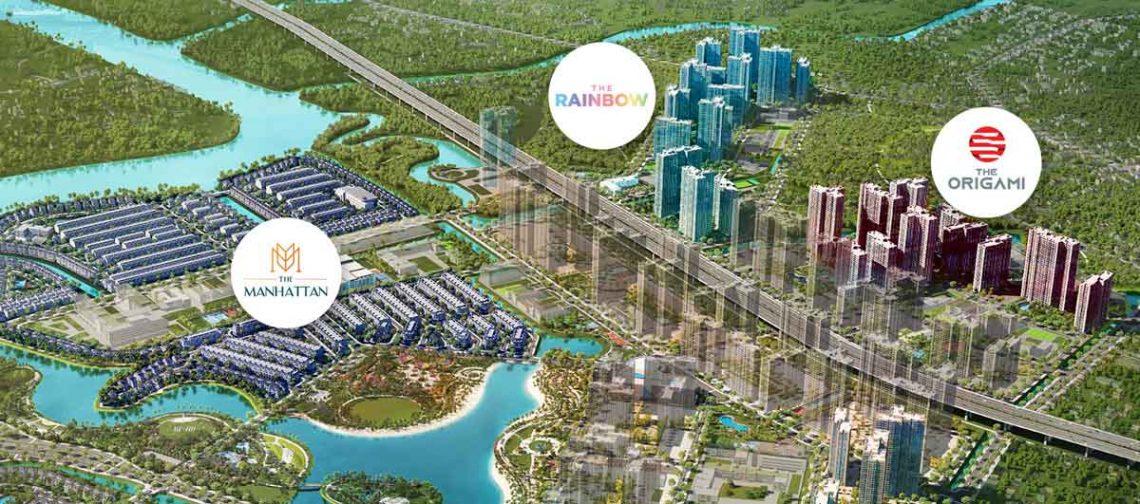 Cuối năm 2019 Vingroup đã mở bán phân khu cao tầng là The Rainbow và sang năm 2020 mở bán phân khu thấp tầng The Manhattan và tới tháng 08/2020 mở bán chung cư The Origami