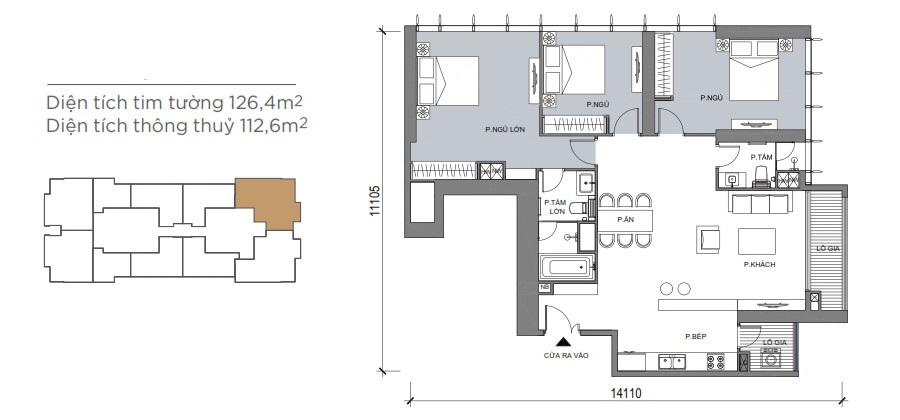căn hộ 125m2