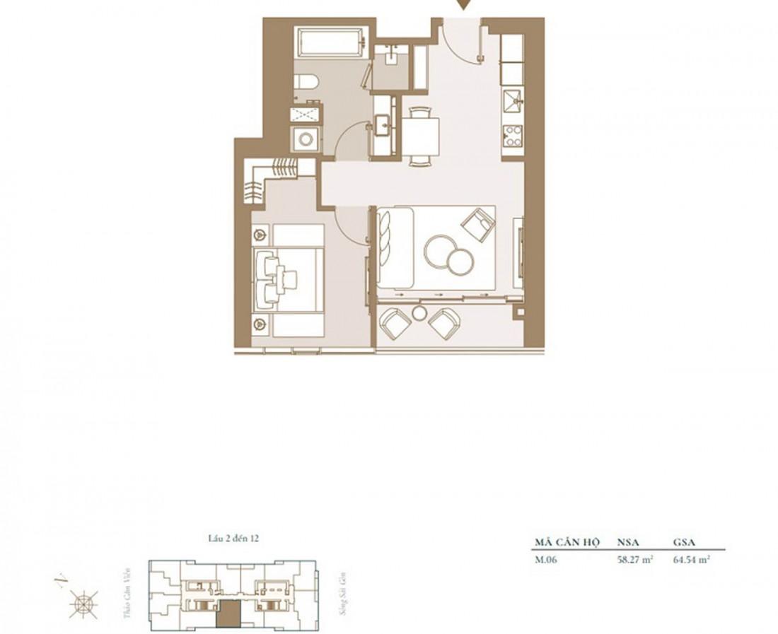 Chi tiết mẫu mặt bằng căn hộ 1 phòng ngủ tiêu chuẩn trong dự án