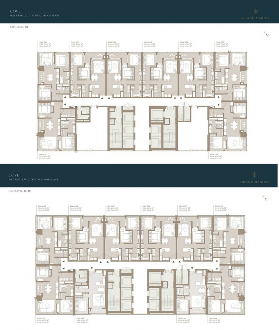 Mặt bằng tầng 33 và tầng 35 - 46