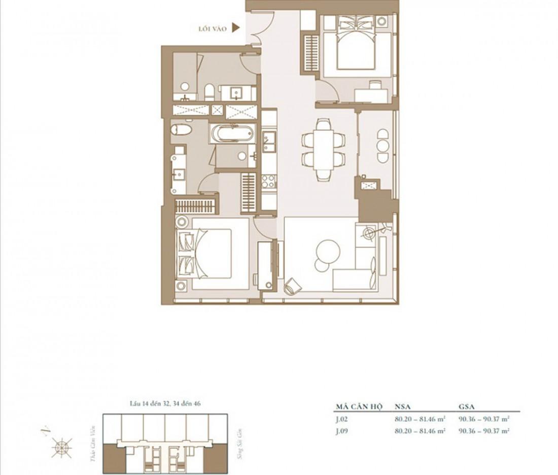 Chi tiết mẫu mặt bằng căn hộ Studio được xây dựng trong dự án