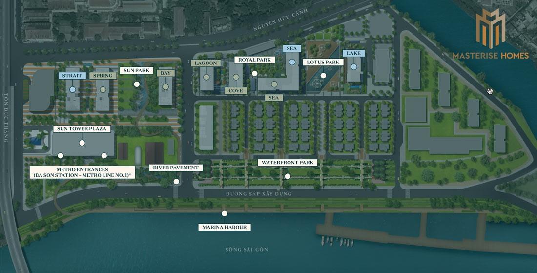 Mặt bằng và vị trí các toà chung cư nhìn từ trên xuống