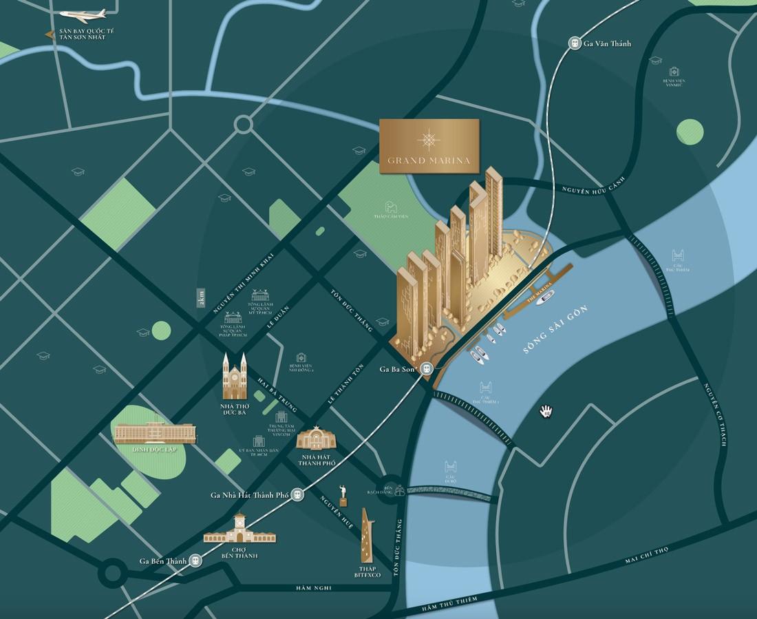 Vị trí dự án Grand Marina Sài Gòn Bason Quận 1