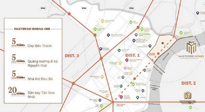 Grand Marina Masterise kết nối gần với nhiều địa điểm quan trọng của thành phố