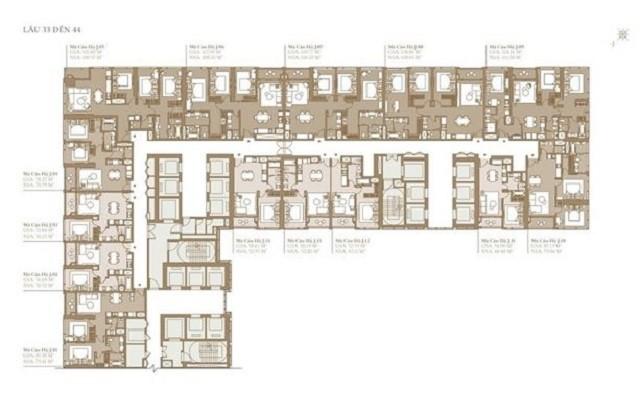Mặt bằng Grand Marina Quận 1 thiết kế tầng 33 đến 44