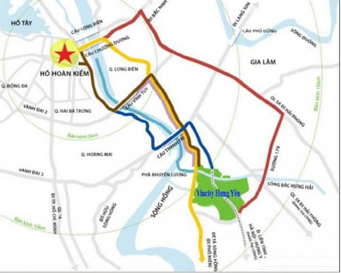 Vinhomes Dream City Hưng Yên được bao quanh bởi những tuyến đường huyết mạch