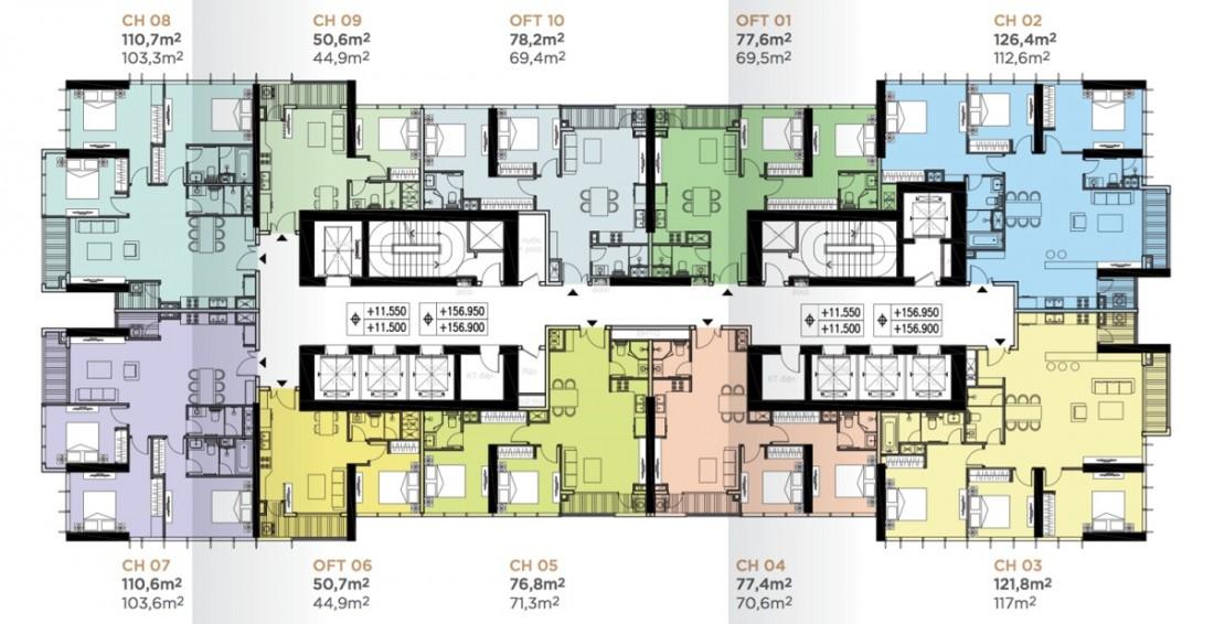 Dự kiến mặt bằng bố trí các sản phẩm căn hộ điển hình tại tòa tháp Tower 2 dự án