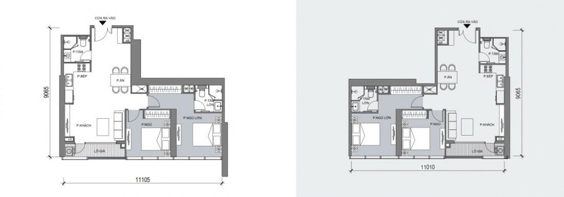 Dự kiến mặt bằng điển hình mẫu căn hộ 2 phòng ngủ phát triển trong dự án