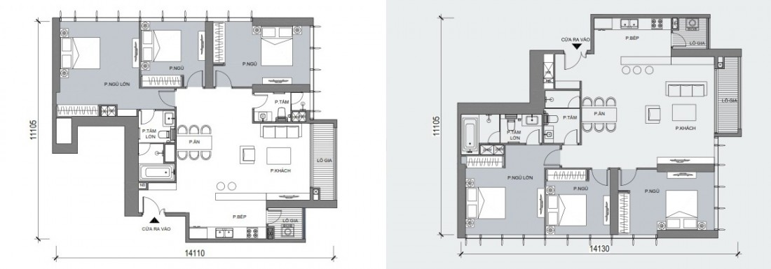 Dự kiến mặt bằng điển hình mẫu căn hộ 3 phòng ngủ phát triển trong dự án